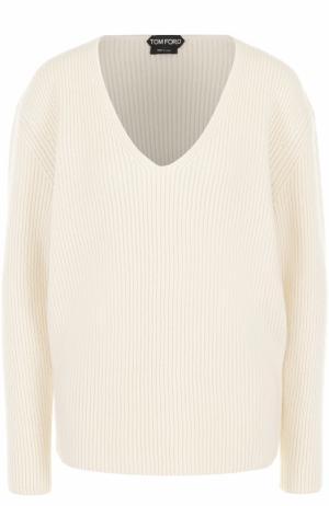 Пуловер фактурной вязки с V-образным вырезом Tom Ford. Цвет: белый