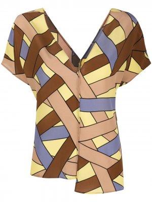 Топ асимметричного кроя с геометричным принтом Alysi. Цвет: коричневый