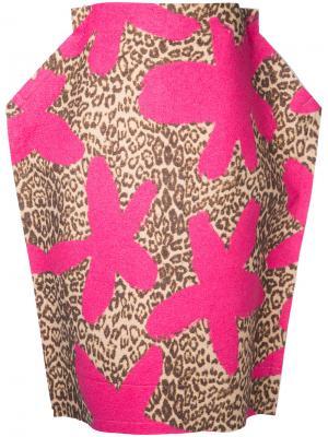 Юбка с леопардовым принтом 2D Comme Des Garçons Pre-Owned. Цвет: розовый
