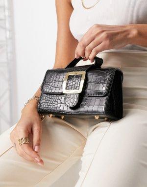 Лакированная черная мини-сумка с пряжкой и отделкой под крокодиловую кожу Ego x Molly Mae-Черный цвет