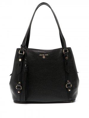 Большая сумка Carrie из зернистой кожи Michael Kors. Цвет: черный