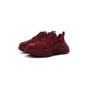 Текстильные кроссовки Triple S Balenciaga. Цвет: бордовый