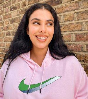 Розовый флисовый худи Plus Nike