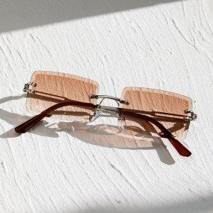Мужские квадратные солнцезащитные очки без оправы SHEIN. Цвет: коричневые