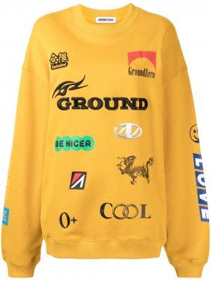 Толстовка с круглым вырезом и логотипом Ground Zero. Цвет: желтый