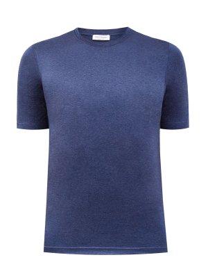 Хлопковая футболка из гладкого хлопка джерси GRAN SASSO. Цвет: синий