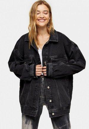 Куртка джинсовая Topshop. Цвет: черный