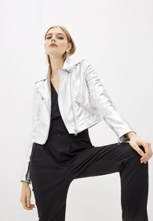 Куртка кожаная Patrizia Pepe. Цвет: серебряный