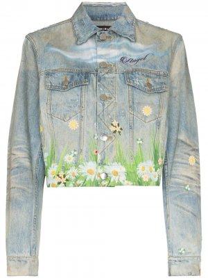 Джинсовая куртка с принтом AMIRI. Цвет: синий