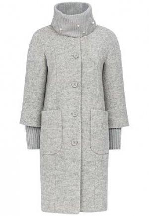 Полушерстяное пальто с трикотажным шарфом Elema