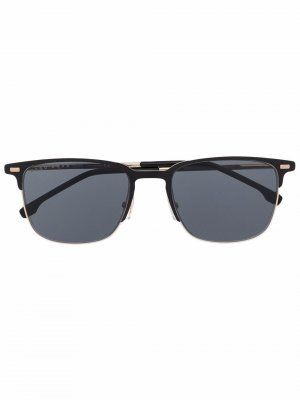 Солнцезащитные очки 1019/S в прямоугольной оправе BOSS. Цвет: черный