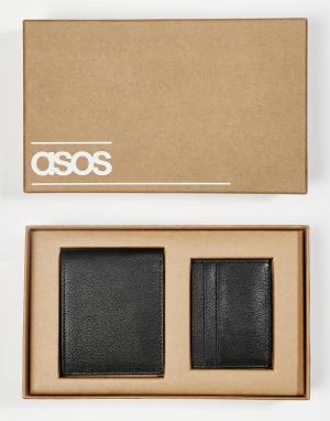 Подарочный набор с кожаным бумажником и визитницей ASOS. Цвет: черный