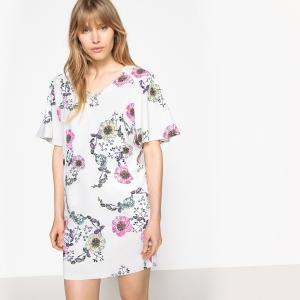 Платье с цветочным рисунком и оригинальными большими рукавами LA REDOUTE COLLECTIONS. Цвет: рисунок цветочный/фон экрю