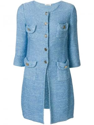 Вязаное пальто Charlott. Цвет: синий