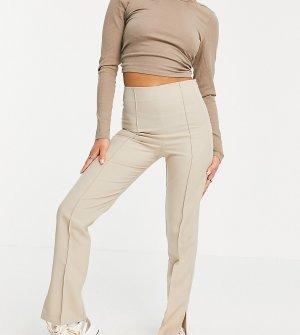 Светло-бежевые зауженные брюки с разрезами по бокам Petite-Светло-бежевый ASOS DESIGN