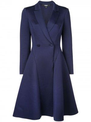 Двубортное платье миди Badgley Mischka. Цвет: синий