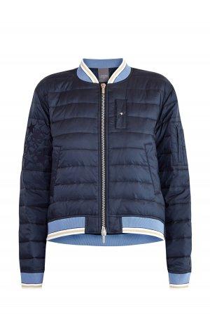 Стеганая куртка-бомбер с утепляющей прослойкой и вышивкой LORENA ANTONIAZZI. Цвет: синий