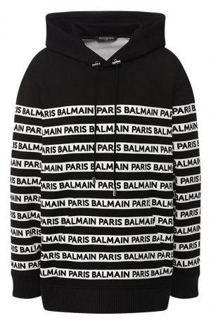 Хлопковый пуловер Balmain. Цвет: черно-белый