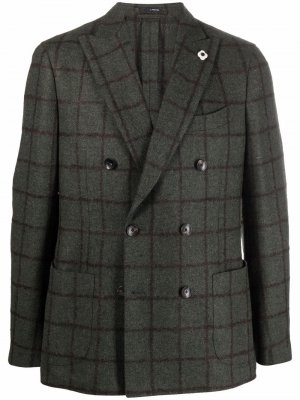 Двубортный пиджак в клетку Lardini. Цвет: зеленый