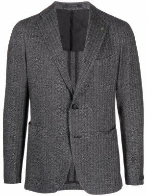 Однобортный пиджак в полоску Tagliatore. Цвет: серый
