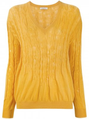 Джемпер фактурной вязки Nina Ricci. Цвет: желтый