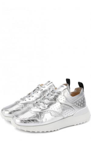 Кросcовки из металлизированной кожи на шнуровке Tod's. Цвет: серебряный