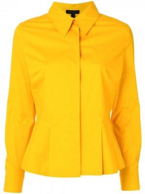 Рубашка с длинными рукавами и складками Escada. Цвет: желтый