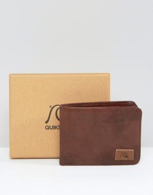 Коричневый кожаный бумажник со скругленными углами Quicksilver Quiksilver. Цвет: коричневый