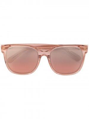 Солнцезащитные очки в прямоугольной оправе Moncler Eyewear. Цвет: розовый