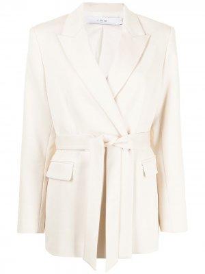 Belted-waist wool blazer IRO. Цвет: белый