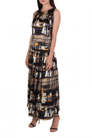 Платье Chapurin. Цвет: желтый, черный, принт