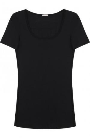 Хлопковая футболка Hanro. Цвет: чёрный