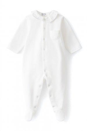 Белое хлопковое боди Bonpoint. Цвет: белый