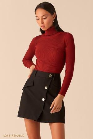 Черная юбка мини с косым рядом пуговиц LOVE REPUBLIC