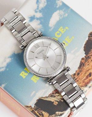 Серебристые часы-браслет Carlie ES4341-Серебристый Fossil