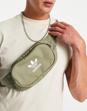 Сумка-кошелек на пояс с фирменным ремешком цвета хаки Adicolor-Зеленый цвет adidas Originals
