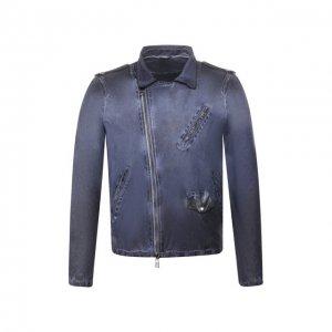 Кожаная куртка Giorgio Brato. Цвет: синий