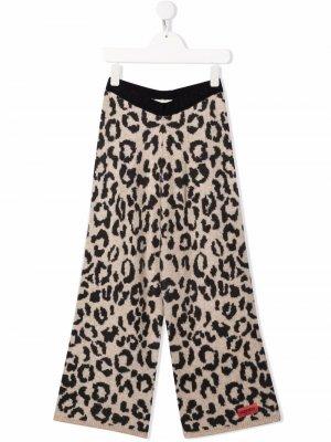Трикотажные брюки с анималистичным принтом Kenzo Kids. Цвет: нейтральные цвета
