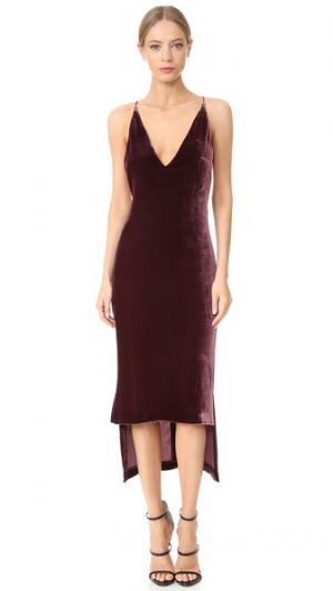 Платье-майка из шелкового бархата Dion Lee. Цвет: винный