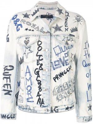 Джинсовая куртка с вышивкой в стиле граффити Dolce & Gabbana. Цвет: черный