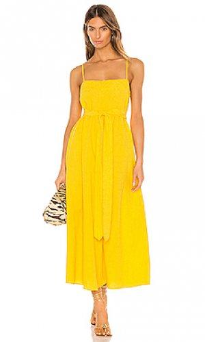 Платье миди philomena Mara Hoffman. Цвет: желтый