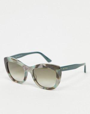 Синие овальные солнцезащитные очки Etro-Голубой ETRO