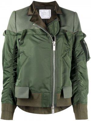 Расклешенная куртка-бомбер Sacai. Цвет: зеленый