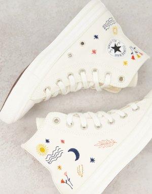 Кремово-белые высокие кеды с вышивкой Chuck Taylor All Star-Белый Converse