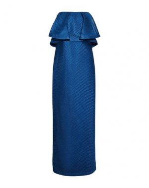 Длинное платье HALSTON. Цвет: синий