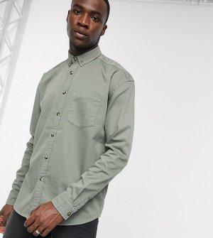 Шалфейно-зеленая джинсовая oversized-рубашка Tall-Зеленый ASOS DESIGN