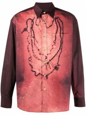 Рубашка с длинными рукавами и графичным принтом Marni. Цвет: фиолетовый