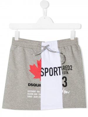 Юбка с кулиской и логотипом Dsquared2 Kids. Цвет: серый