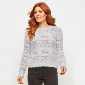 Пуловер жаккардовый для Рождества с круглым вырезом и длинными рукавами JOE BROWNS. Цвет: белый/ розовый