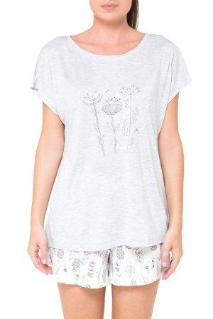 Комплект: футболка, шорты Trikozza. Цвет: серый, голубой, меланж, цветы